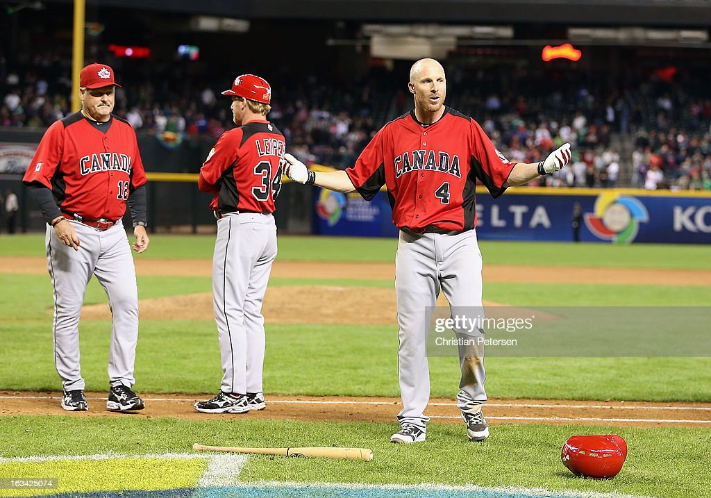 Pete Orr of Canada reacts after Mexico and Canada had an on the field altercation during the World Baseball Classic First Round Group D game at Chase...