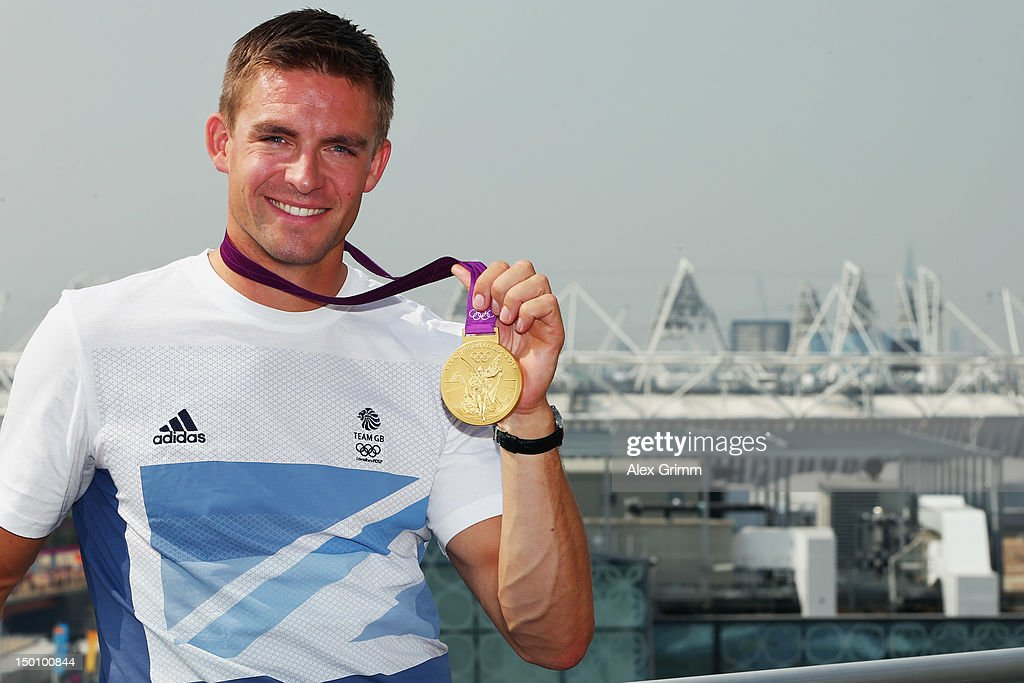 <a gi-track='captionPersonalityLinkClicked' href=/galleries/search?phrase=Pete+Reed&family=editorial&specificpeople=5416911 ng-click='$event.stopPropagation()'>Pete Reed</a> of Team GB at the adidas Olympic Media Lounge at Westfield Stratford City on August 10, 2012 in London, England.