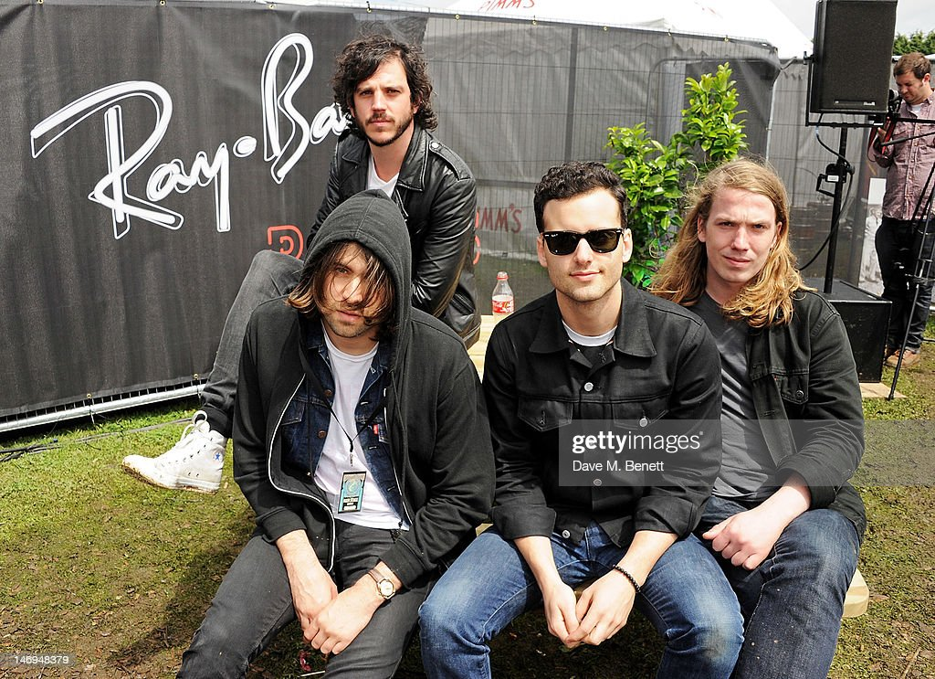 Pete Robertson and Justin Young Arni Hjorvar Freddie Cowan of The Vaccines attend the RayBan Rooms during day three of the Isle of Wight Festival at...