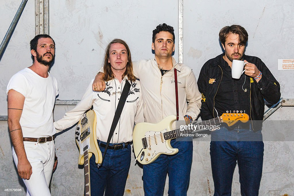Pete Robertson Arni Amason Freddie Cowan and Justin HaywardYoung of The Vaccines pose backstage at Kendal Calling Festival on July 31 2015 in Kendal...