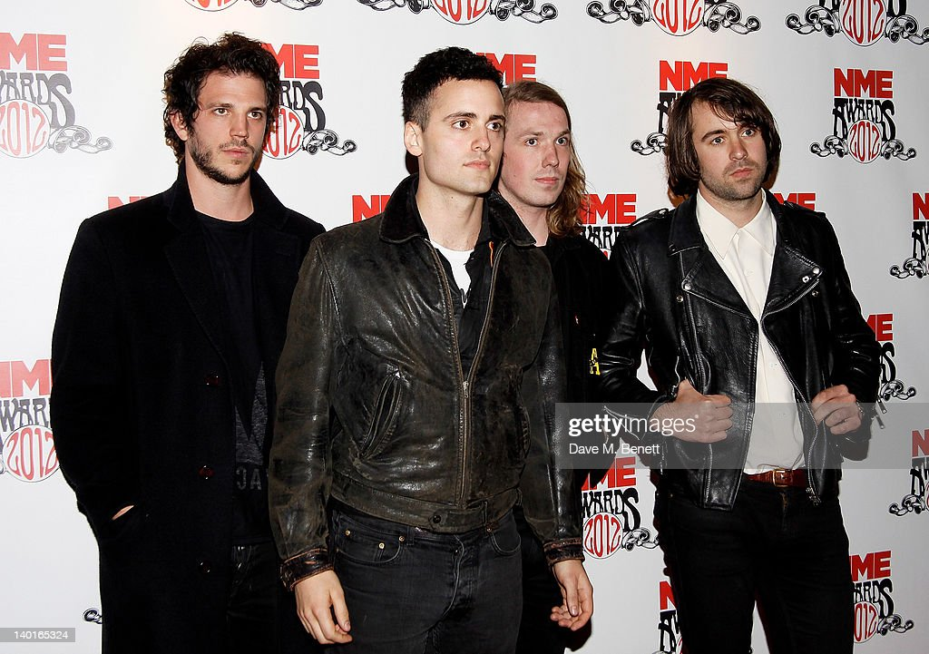 Pete Robertson Arni Hjorvar Freddie Cowan and Justin Young of The Vaccines arrive at the NME Awards 2012 at the Brixton Academy on February 29 2012...
