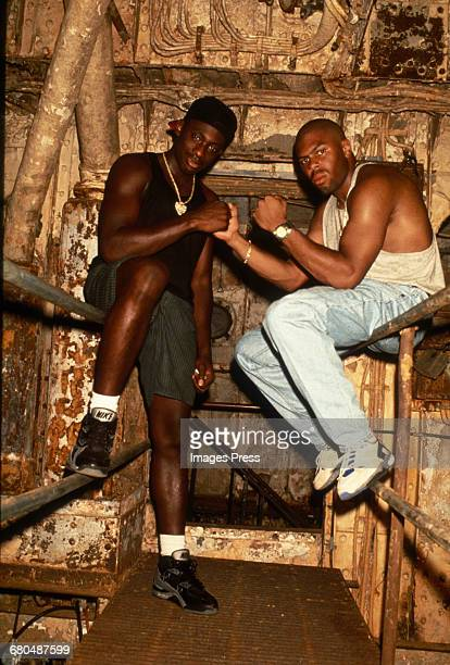 Pete Rock CL Smooth on the set of music video filming circa 1990s in New York City
