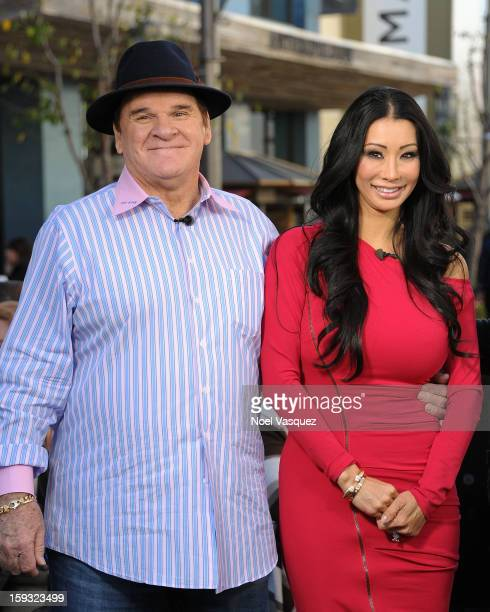 Pete Rose and Kiana Kim visit Extra at The Grove on January 11 2013 in Los Angeles California