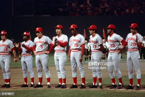 Pete Rose Joe Morgan Jonny Bench Tony Perez George Foster Dave Concepcion Ken Griffey and Cesar Geronimo of the Cincinnati Reds lineup during...