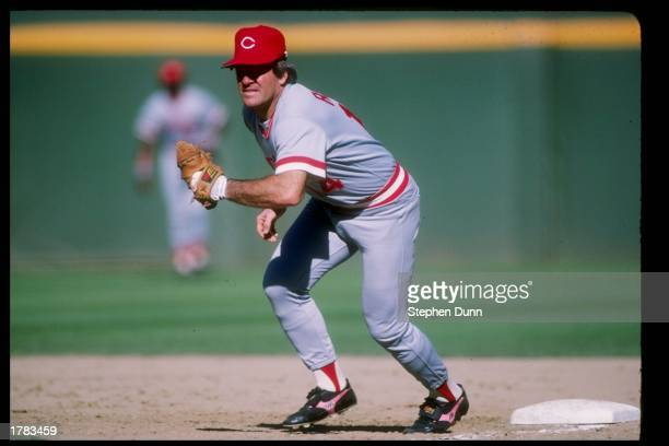 Pete Rose of the Cincinnati Reds in action during a game versus the San Diego Padres at Jack Murphy Stadium in San Diego California Mandatory Credit...