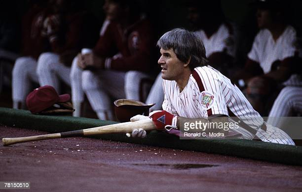 Pete Rose of the Philadelphia Phillies in the dugout during Game 5 of the 1983 World Series against the Baltimore Orioles on October 16 1983 in...
