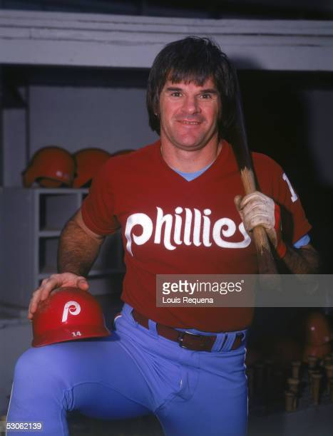 Pete Rose of the Philadelphia Phillies poses for a portrait in the dugout before a season game Pete Rose played for the Philadelphia Phillies from...