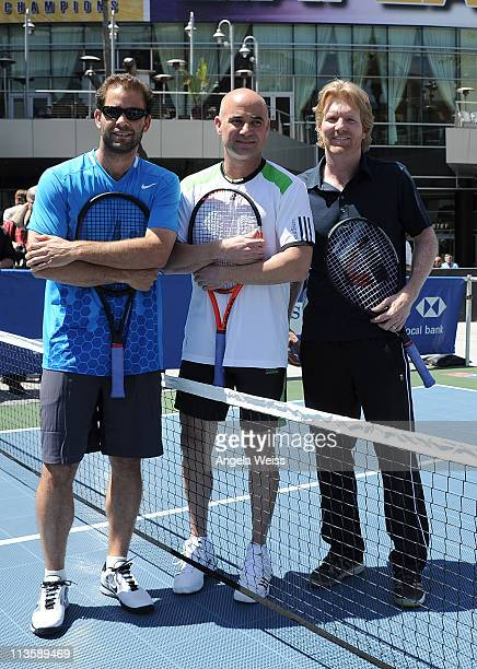 Pete Sampras Andre Agassi and Jim Courier attend the 2011 Champions Series Tennis Tour press conference in Staples Center's Star Plaza on May 3 2011...