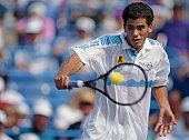Pete Sampras of the United States makes a back hand return to Jim Courier during their Men's Singles Semi Final match of the United States Open...