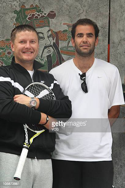 Pete Sampras of United States and Yevgeny Kafelnikov of Russia visit the China Lane before the 2010 Chengdu Open on October 21 2010 in Chengdu...