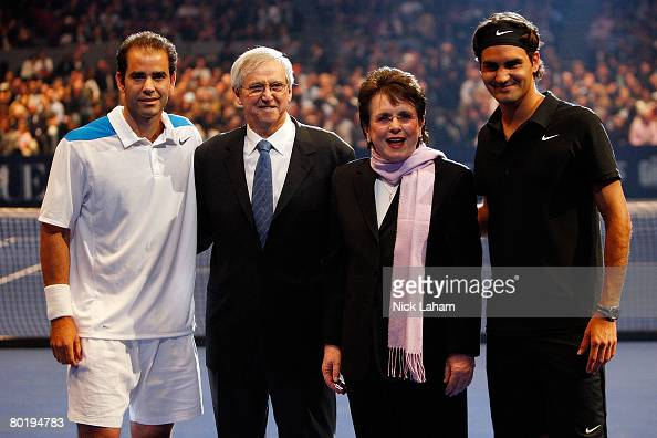 Pete Sampras Roy Emerson of Australia Billie Jean King and Roger Federer of Switzerland pose prior to an exhibition match between Sampras and Federer...