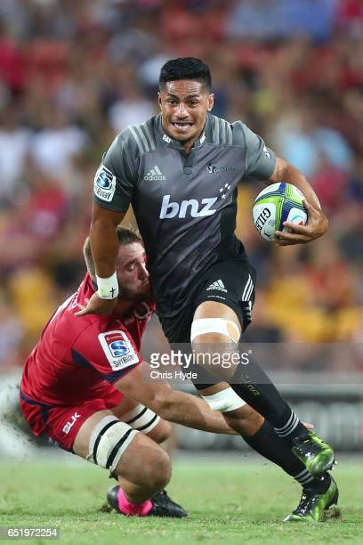 Pete Samu of Crusaders runs the ball during the round three Super Rugby match between the Reds and the Crusaders at Suncorp Stadium on March 11 2017...
