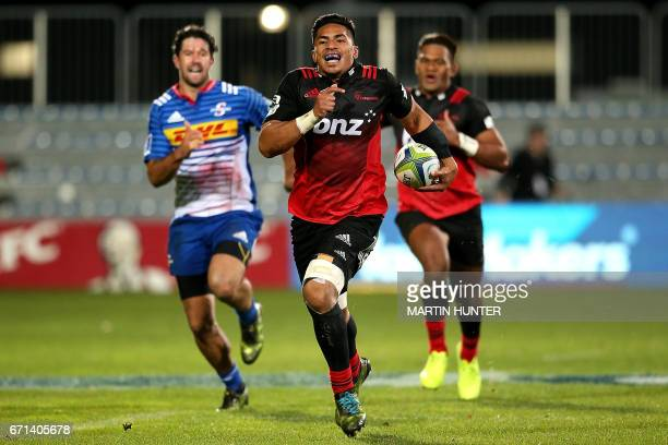 Pete Samu of the Canterbury Crusaders breaks away to score a try during the Super Rugby match between New Zealand's Canterbury Crusaders and South...