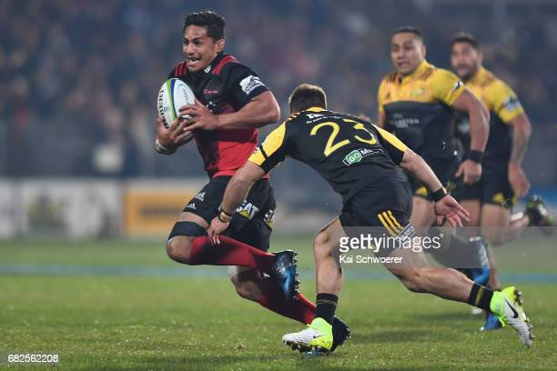 Pete Samu of the Crusaders charges forward during the round 12 Super Rugby match between the Crusaders and the Hurricanes at AMI Stadium on May 13...