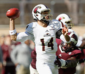 Pete Thomas of the Louisiana Monroe Warhawks looks for a receiver against the Texas AM Aggies at Kyle Field on November 1 2014 in College Station...