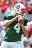 Pete Thomas of the North Carolina State Wolfpack drops back to pass during the Kay Yow Spring Football Game at CarterFinley Stadium on April 20 2013...