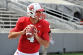 Pete Thomas of the North Carolina State Wolfpack warms up prior to a game against the Louisiana Tech Bulldogs at CarterFinley Stadium on August 31...