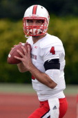 Pete Thomas of the North Carolina State Wolfpack warms up prior to a game against the Duke Blue Devils at Wallace Wade Stadium on November 9 2013 in...