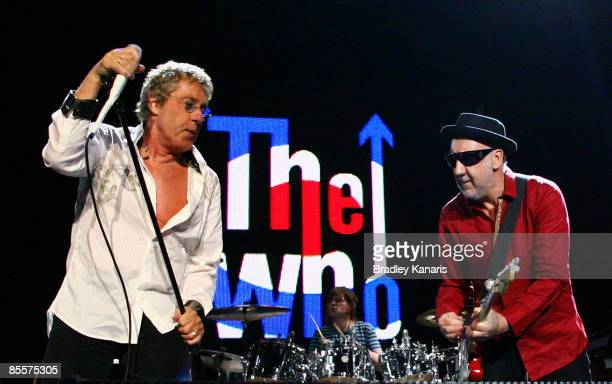 Pete Townshend and Roger Daltrey of The Who perform on stage at the Brisbane Entertainment Centre on March 24 2009 in Brisbane Australia