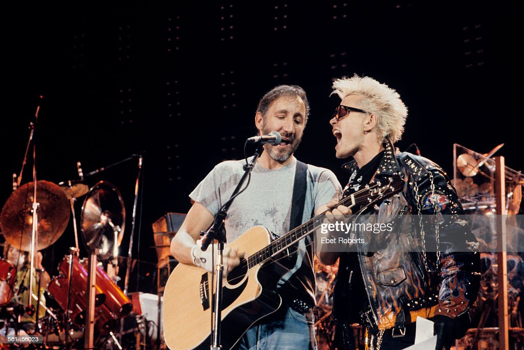 Pete Townshend of The Who and Billy Idol at the rehearsals for the performance of 'Tommy' at the Universal Amphitheater in Los Angeles California on...