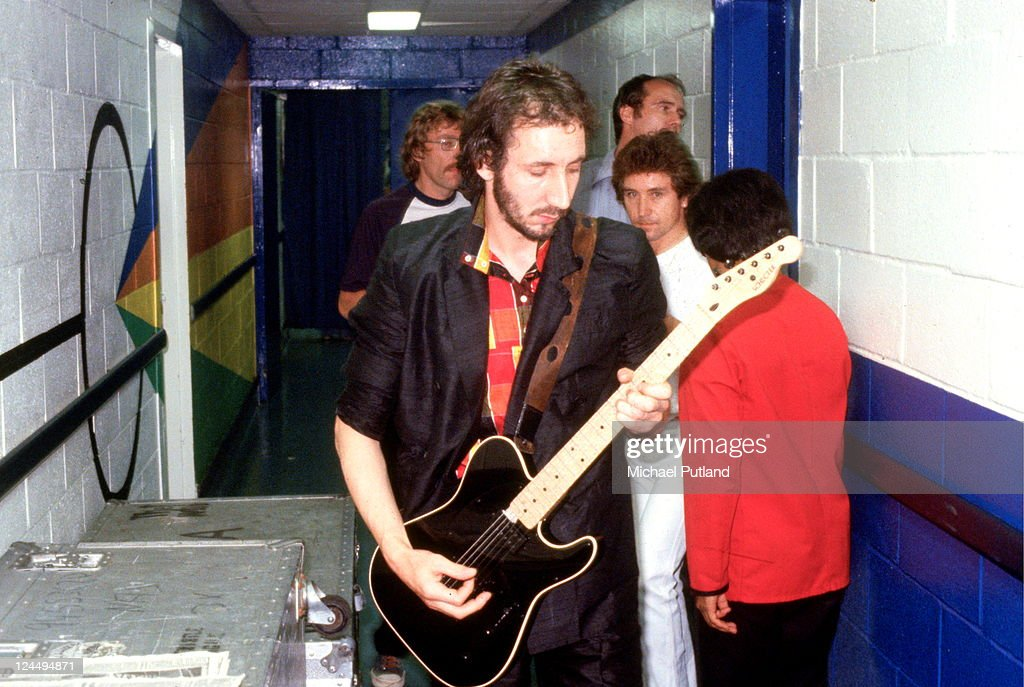 Pete Townshend of The Who, backstage with Kenney Jones, USA, September 1979. He plays a Schecter guitar.