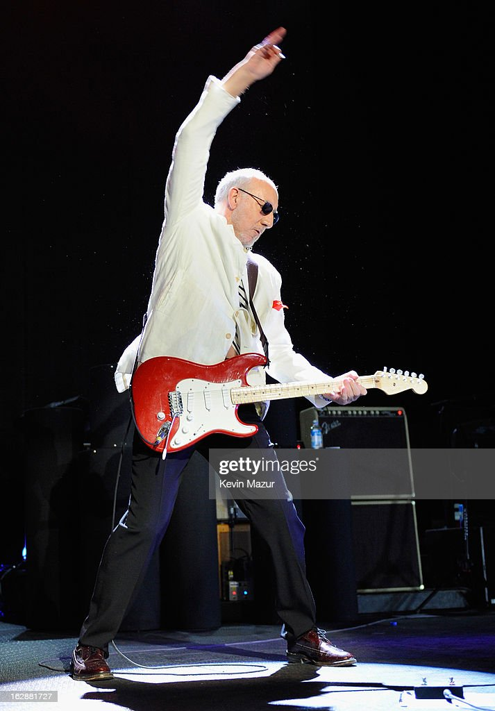 <a gi-track='captionPersonalityLinkClicked' href=/galleries/search?phrase=Pete+Townshend&family=editorial&specificpeople=203159 ng-click='$event.stopPropagation()'>Pete Townshend</a> of The Who performs during the Who Cares Benefit For Teen Cancer America Memorial Sloan-Kettering Cancer Center at The Theater at Madison Square Garden on February 28, 2013 in New York City.