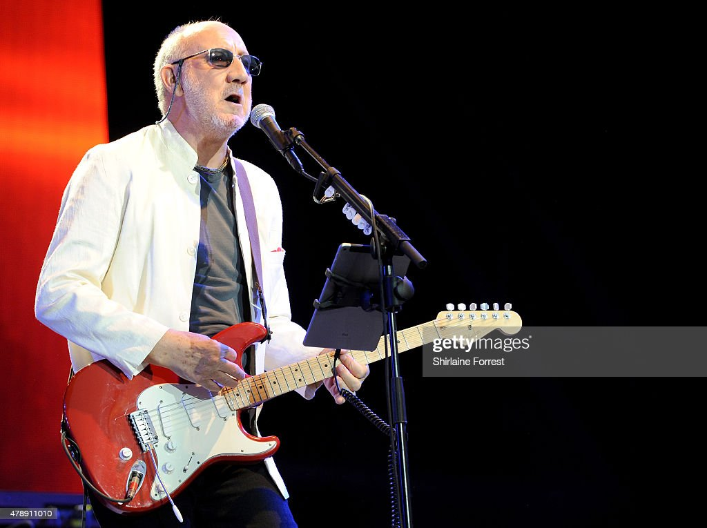 Pete Townshend of The Who performs headlining The Pyramid Stage at the Glastonbury Festival at Worthy Farm, Pilton on June 28, 2015 in Glastonbury, England.