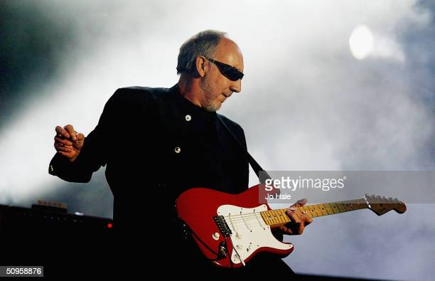 Pete Townshend of The Who performs nd headlines live on stage on day two of 'The Nokia Isle of Wight Festival 2004' at Seaclose Park on June 12 2004...