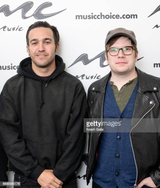 Pete Wentz and Patrick Stump of Fall Out Boy visit Music Choice on December 8 2017 in New York City