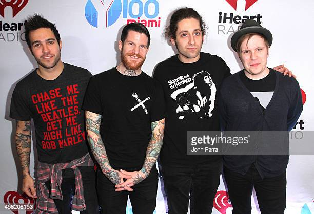 Pete Wentz Andy Hurley Joe Trohman and Patrick Stump of Fall Out Boy attend Y100's Jingle Ball 2013 Presented by Jam Audio Collection at BBT Center...