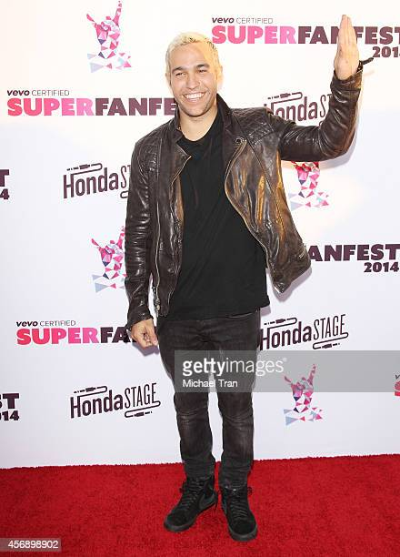 Pete Wentz arrives at the Vevo CERTIFIED SuperFanFest held at Barker Hangar on October 8 2014 in Santa Monica California