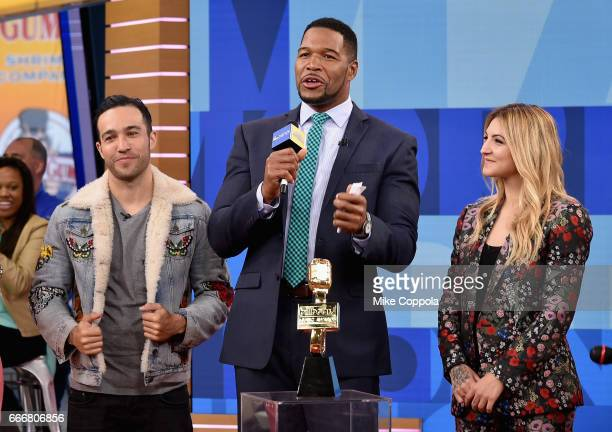 Pete Wentz Michael Strahan and Julia Michaels attend the 2017 Billboard Music Awards Nominations Announcement at Good Morning America Studios on...