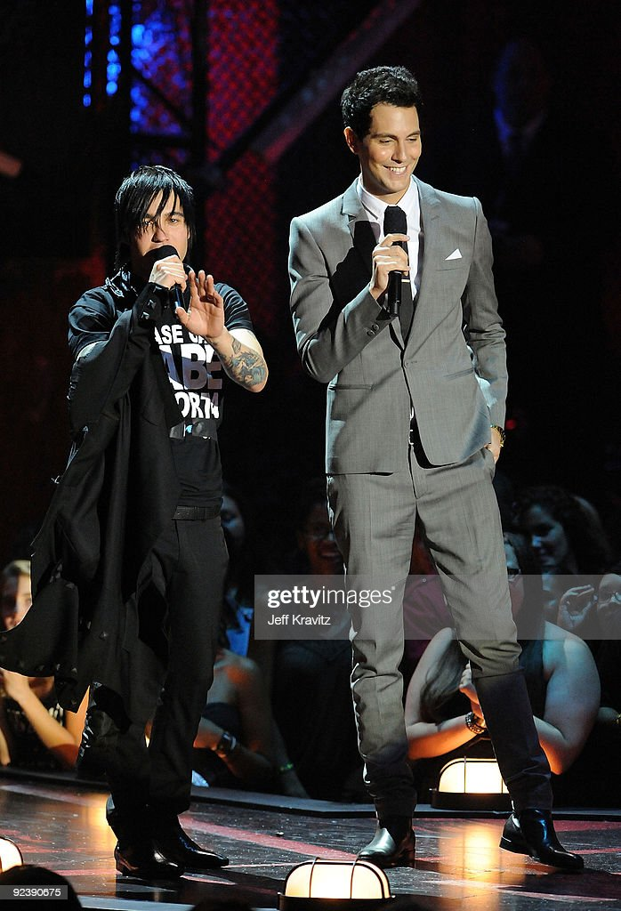 Pete Wentz of Fall Out Boy and Gabe Saporta onstage during the 2009 MTV Video Music Awards at Radio City Music Hall on September 13, 2009 in New York City.