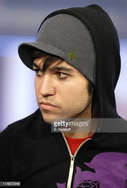 Pete Wentz of Fall Out Boy during Fall Out Boy Paul Wall 44 The Academy Is and Cobra Starship Visit MTV's 'TRL' June 5 2007 at MTV Studios in New...