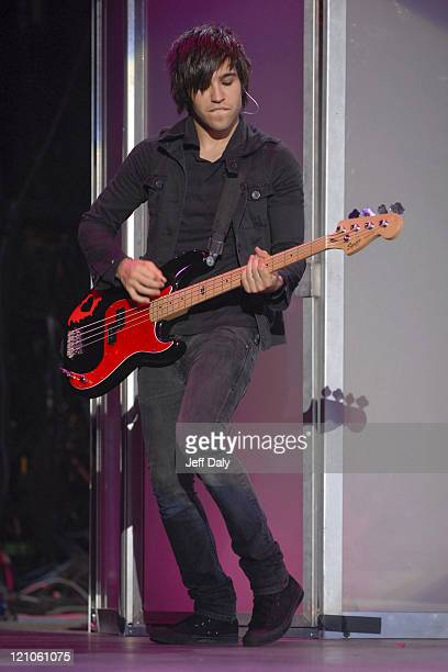 Pete Wentz of Fall Out Boy during The Honda Civic Tour 2007 June 16 2007 at The Sound Advice Amphitheater in West Palm Beach Florida United States