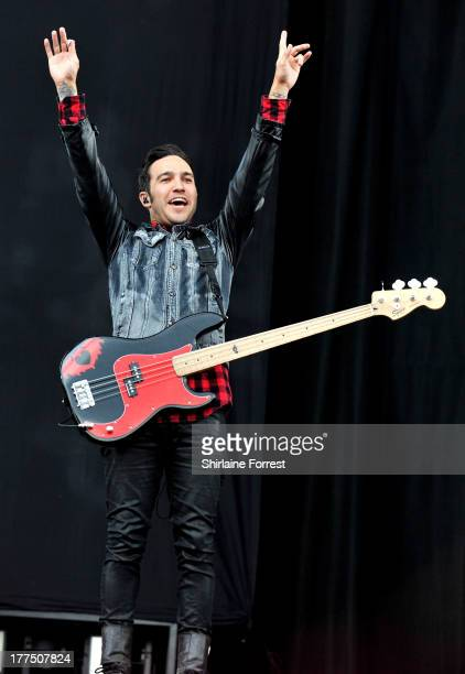 Pete Wentz of Fall Out Boy performs at Day 1 of the Leeds Festival at Bramham Park on August 23 2013 in Leeds England