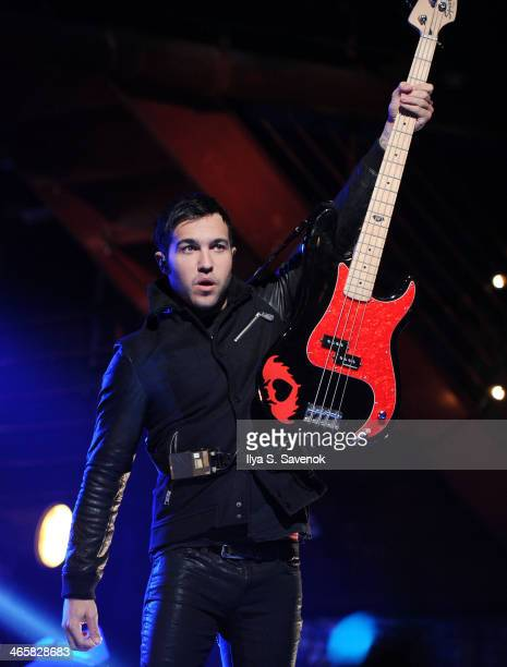 Pete Wentz of Fall Out Boy performs during VH1's 'Super Bowl Blitz Six Nights Six Concerts' at Brooklyn Bowl on January 29 2014 in the Brooklyn...
