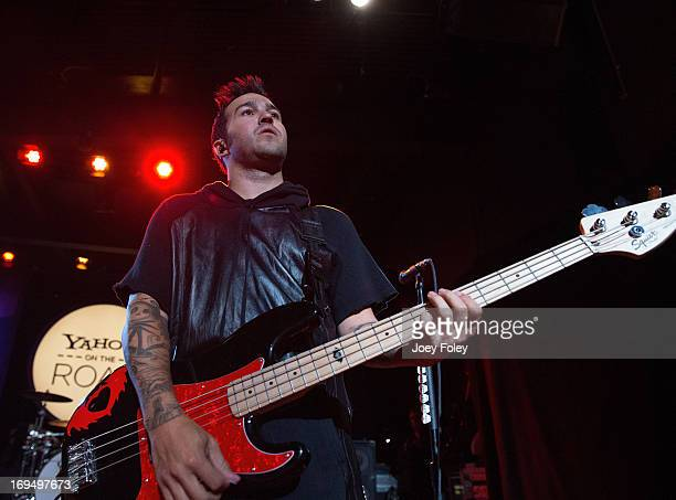 Pete Wentz of Fall Out Boy performs during Yahoo On The Road at Majestic Theatre on May 13 2013 in Madison Wisconsin
