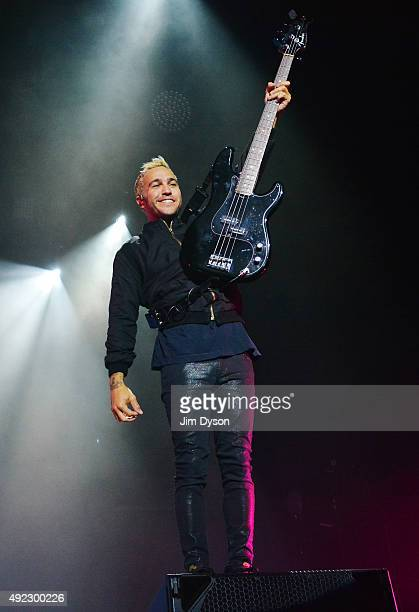 Pete Wentz of Fall Out Boy performs live on stage at SSE Arena Wembley on October 11 2015 in London England