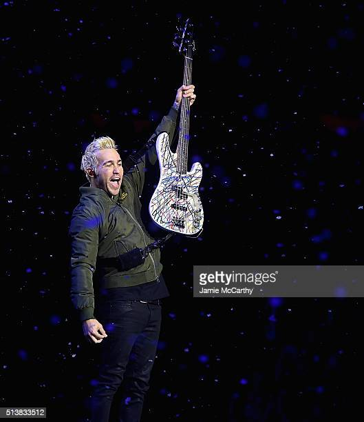 Pete Wentz of Fall Out Boy performs onstage at Madison Square Garden on March 4 2016 in New York City