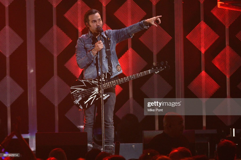 Pete Wentz of Fall Out Boy performs onstage during Q102's Jingle Ball 2017 Presented by Capital One at Wells Fargo Center on December 6, 2017 in Philadelphia Pennsylvania.