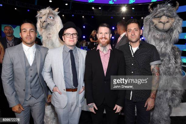 Pete Wentz Patrick Stump Andy Hurley and Joe Trohman of Fall Out Boy attend the 2017 MTV Video Music Awards at The Forum on August 27 2017 in...