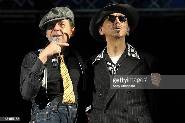 Pete Williams and Kevin Rowland of the band Dexys perform on stage during Latitude Festival 2012 at Henham Park Estate on July 13 2012 in Southwold...