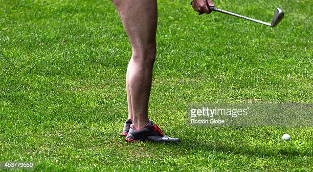 Pete Wilson of Albany New York plays at the 4 hole Pitch and Putt course at the clothing optional Abbott's Glen Inn and Campground which offers...