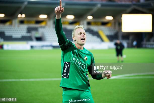 Peter Abrahamsson goalkeeper of BK Hacken cheers to the fans after his team´s victory the Allsvenskan match between BK Hacken and GIF Sundsvall at...