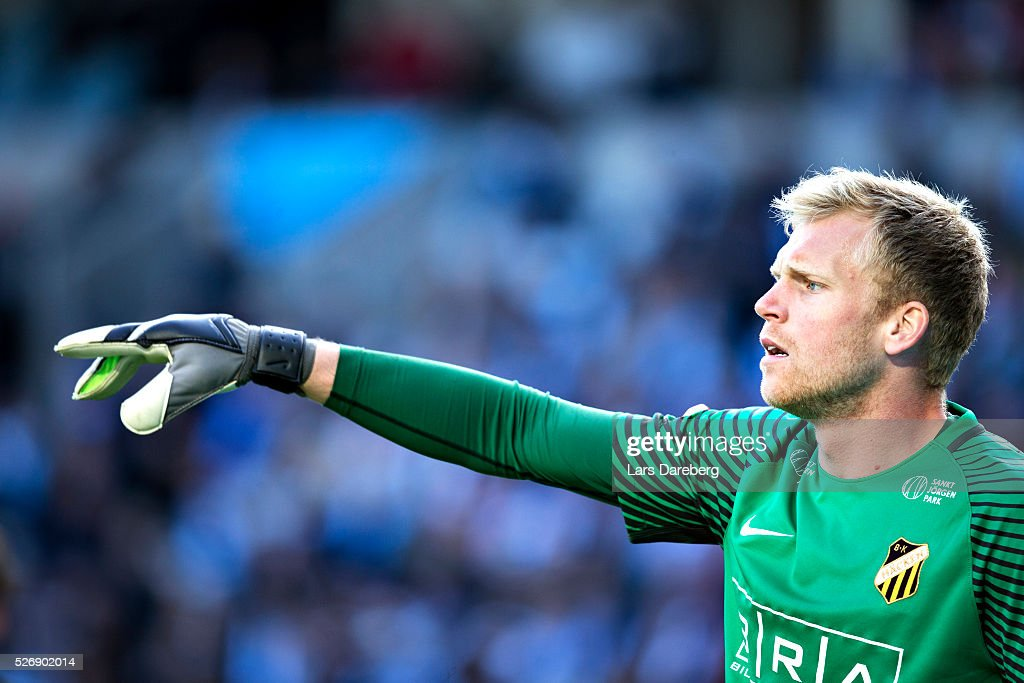 Peter Abrahamsson, goalkeeper of BK Hacken during the Allsvenskan match between Malmo FF and BK Hacken at Swedbank Stadion on May 1, 2016 in Malmo, Sweden.