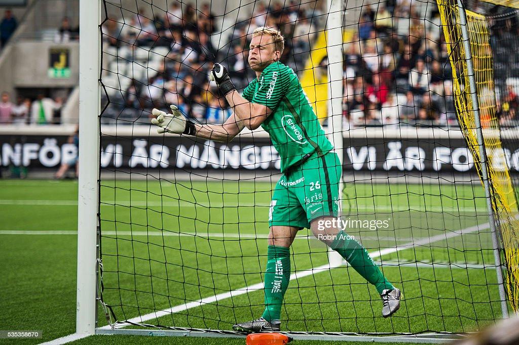 Peter Abrahamsson, goalkeeper of BK Hacken eased after a shot goes just outside the goal during the Allsvenskan match between BK Hacken and Djurgardens IF at Bravida Arena on May 29, 2016 in Gothenburg, Sweden.