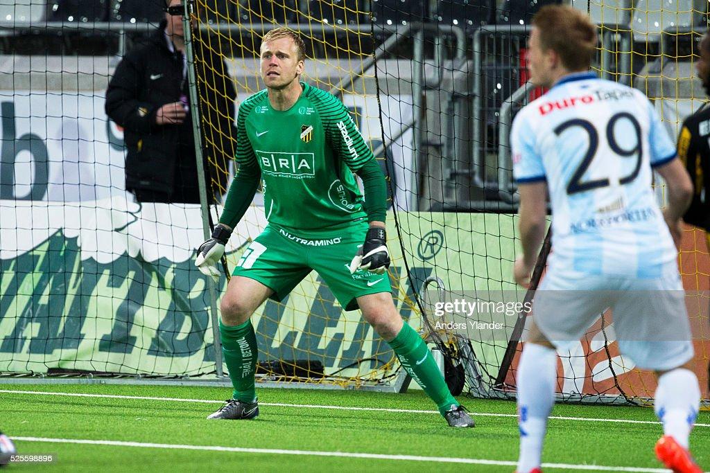 Peter Abrahamsson, goalkeeper of BK Hacken in action during the Allsvenskan match between BK Hacken and Gefle IF at Bravida Arena on April 28, 2016 in Gothenburg, Sweden.