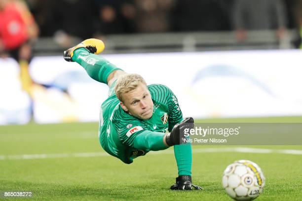 Peter Abrahamsson goalkeeper of BK Hacken makes a saveduring the Allsvenskan match between Djurgardens IF and BK Hacken at Tele2 Arena on October 22...