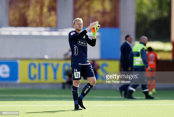 Peter Abrahamsson goalkeeper of BK Hacken reacts after the Allsvenskan match between Athletic Eskilstuna FC and BK Hacken at Tunavallen on May 21...